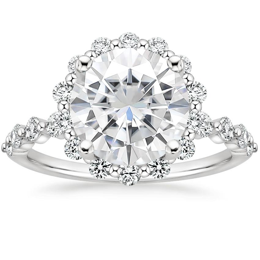 Moissanite Marseille Halo Diamond Ring (1/2 ct. tw.) in 18K White Gold