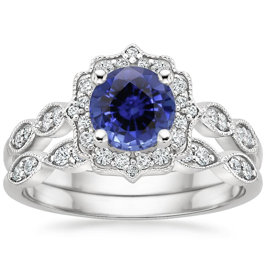18KW Sapphire Cadenza Halo Diamond Bridal Set (1/4 ct. tw.), top view