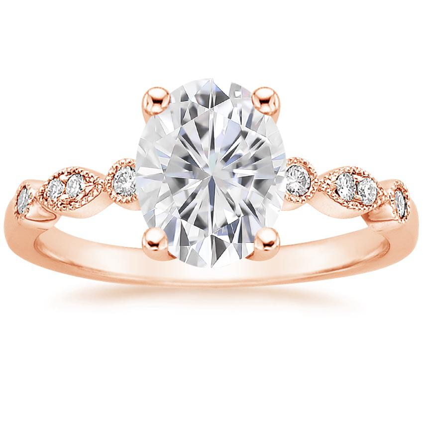 Rose Gold Moissanite Tiara Diamond Ring