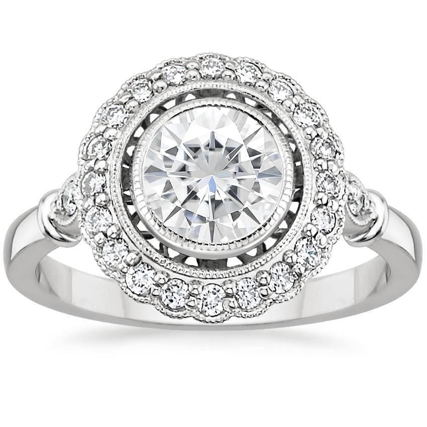 Moissanite Bella Diamond Ring in 18K White Gold