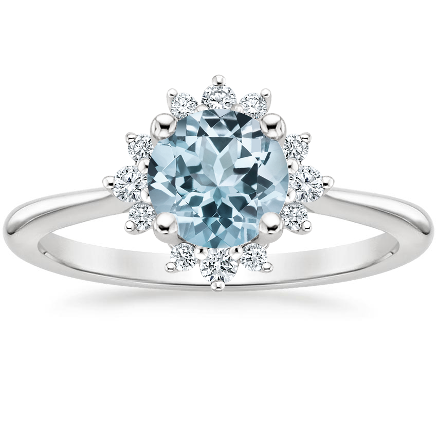 Aquamarine Sol Diamond Ring in 18K White Gold