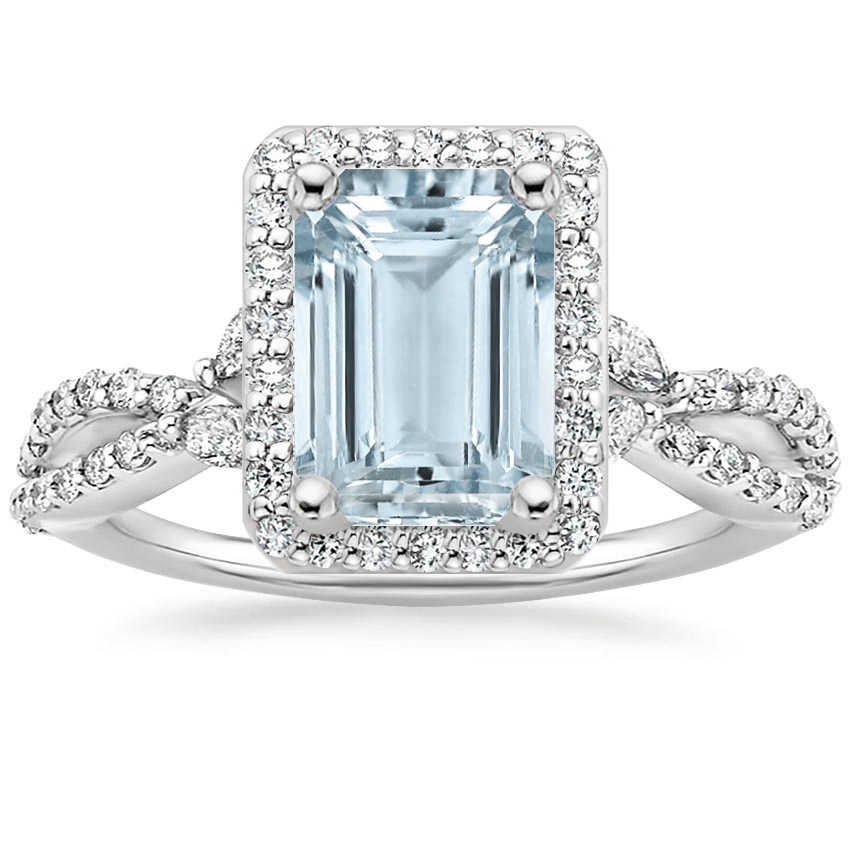 Aquamarine Luxe Willow Halo Diamond Ring (2/5 ct. tw.) in 18K White Gold