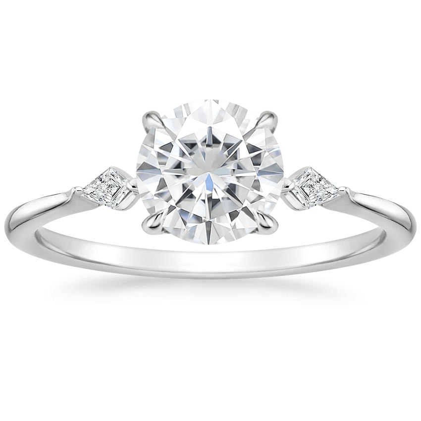 Moissanite Cometa Diamond Ring in 18K White Gold