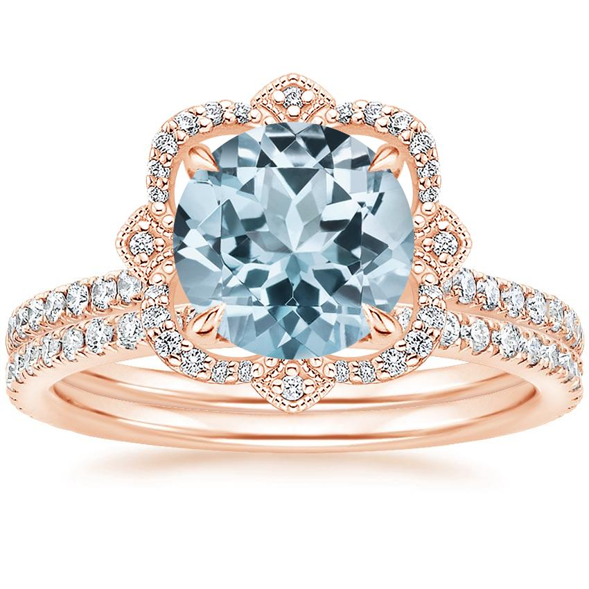 14KR Aquamarine Reina Diamond Ring (1/6 ct. tw.) with Luxe Ballad Diamond Ring (1/4 ct. tw.), top view