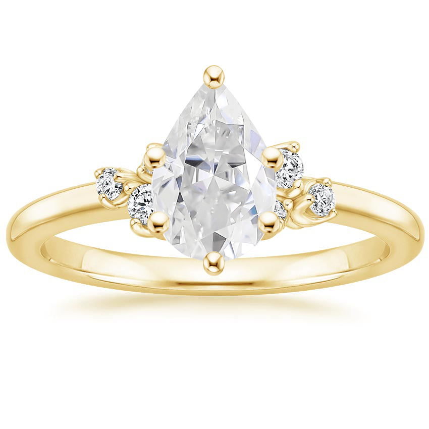 Yellow Gold Moissanite Mia Diamond Ring
