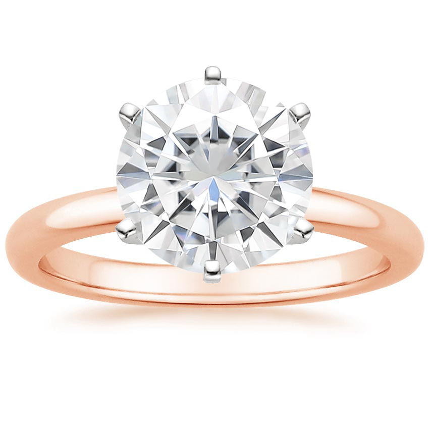 Rose Gold Moissanite Six-Prong 2mm Comfort Fit Ring