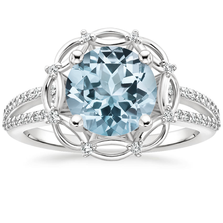 Aquamarine Isabella Diamond Ring in 18K White Gold