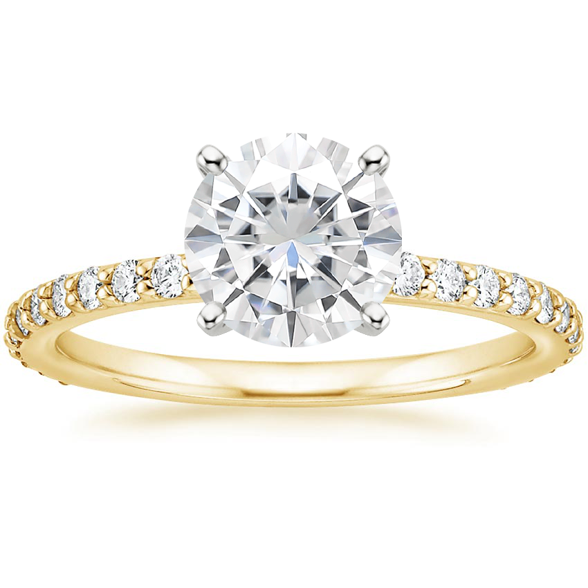 Yellow Gold Moissanite Luxe Petite Shared Prong Diamond Ring (1/3 ct. tw.)