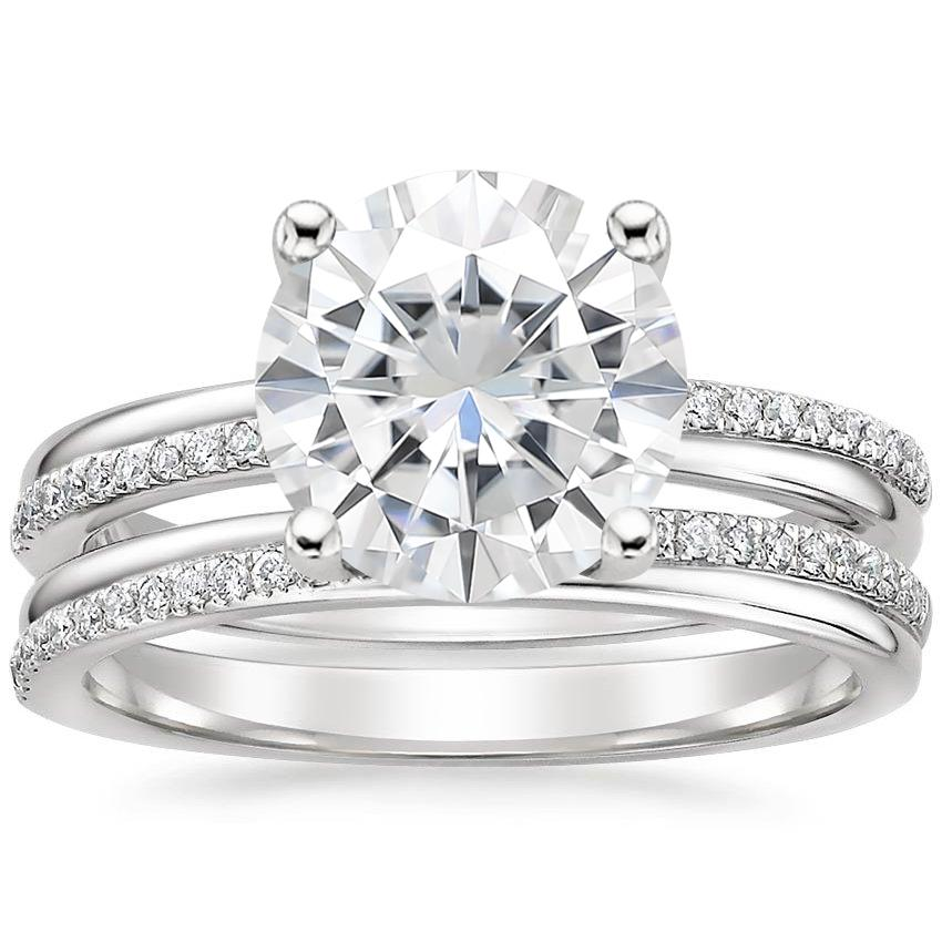 18KW Moissanite Symphony Diamond Bridal Set, top view