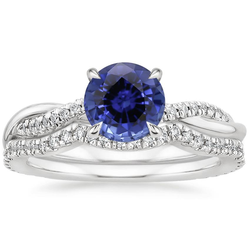 18KW Sapphire Petite Twisted Vine Contoured Diamond Bridal Set (1/3 ct. tw.), top view
