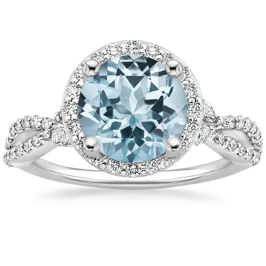 Aquamarine Luxe Willow Halo Diamond Ring (2/5 ct. tw.) in Platinum