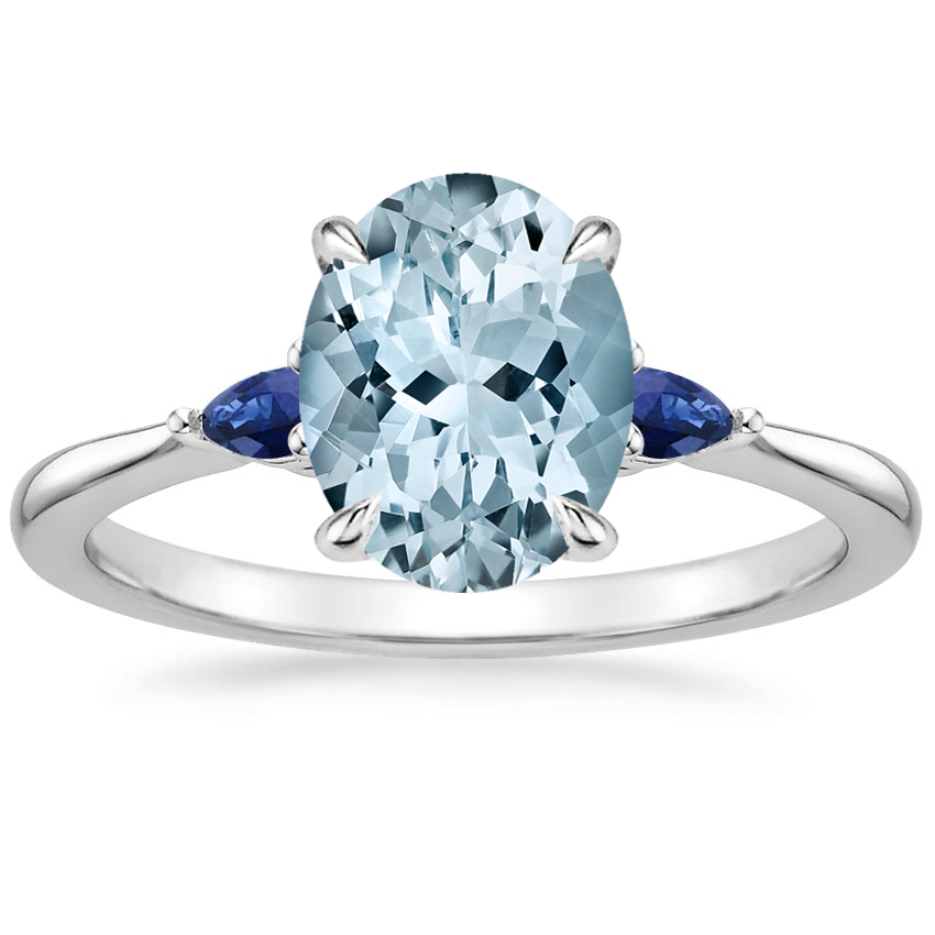 Aquamarine Aria Ring with Sapphire Accents in 18K White Gold