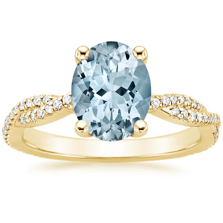 Yellow Gold Aquamarine Petite Luxe Twisted Vine Diamond Ring (1/4 ct. tw.)