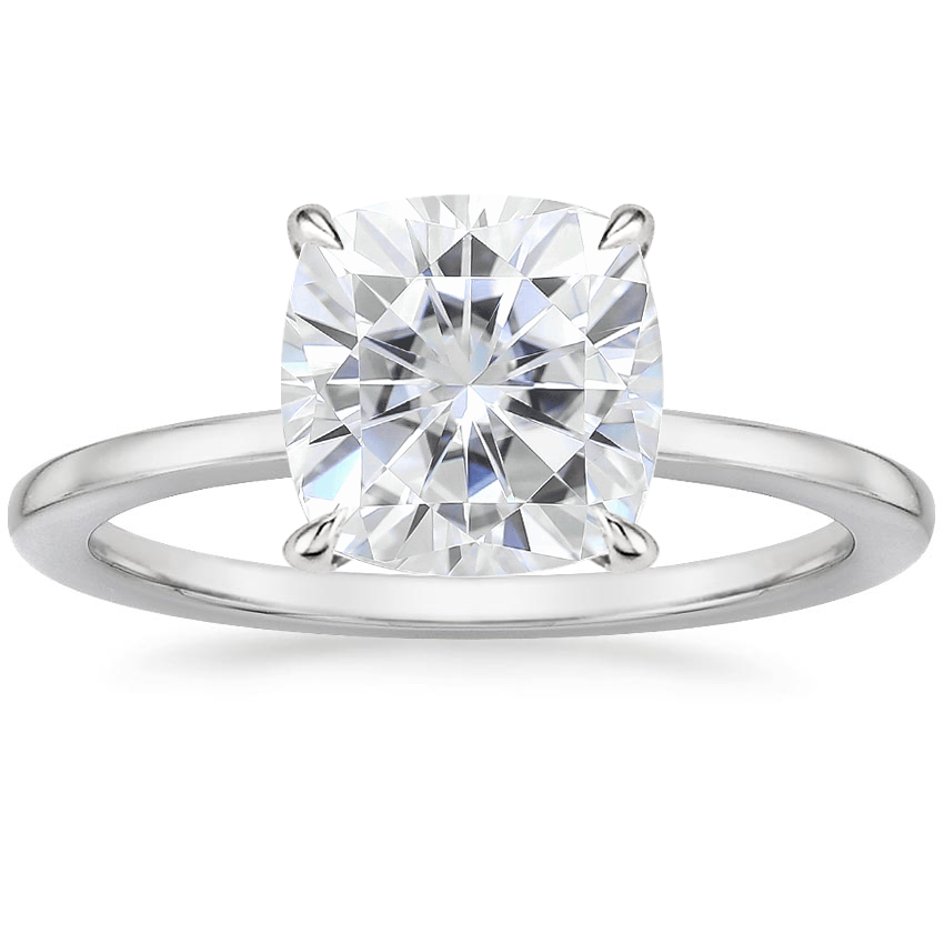 Moissanite Lumiere Diamond Ring in 18K White Gold