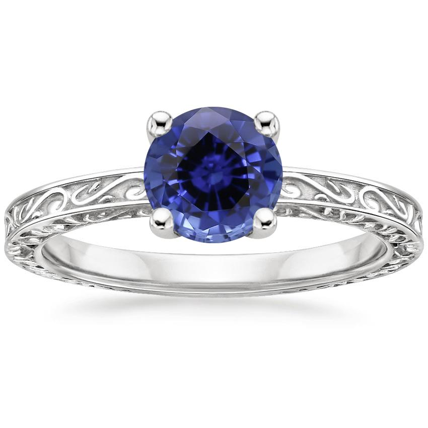 Sapphire Delicate Antique Scroll Solitaire Ring in Platinum