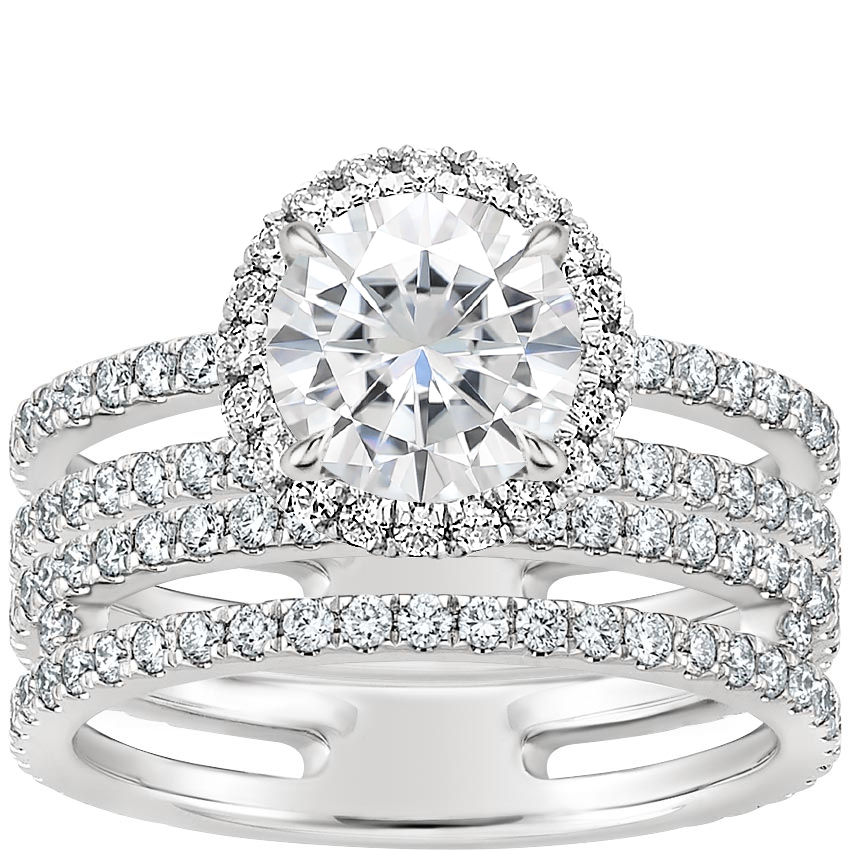 18KW Moissanite Linnia Halo Diamond Bridal Set, top view