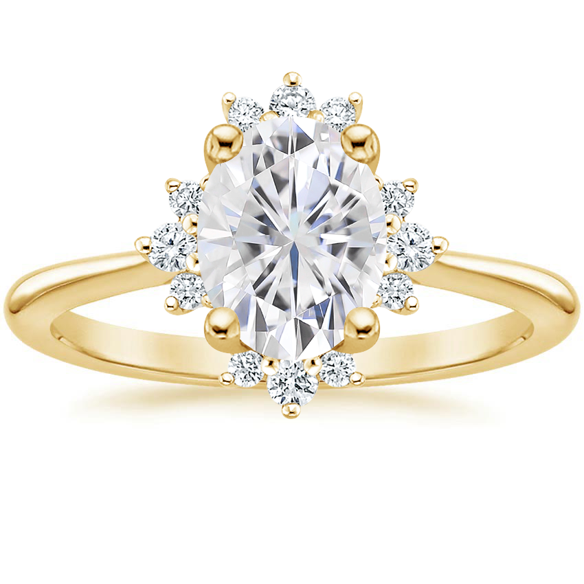 Yellow Gold Moissanite Sol Diamond Ring