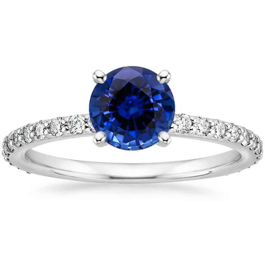 Lab Created Sapphire Luxe Petite Shared Prong Diamond Ring (1/3 ct. tw.) in Platinum