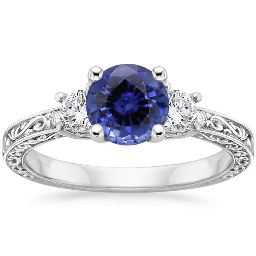 Sapphire Antique Scroll Three Stone Trellis Diamond Ring (1/3 ct. tw.) in 18K White Gold
