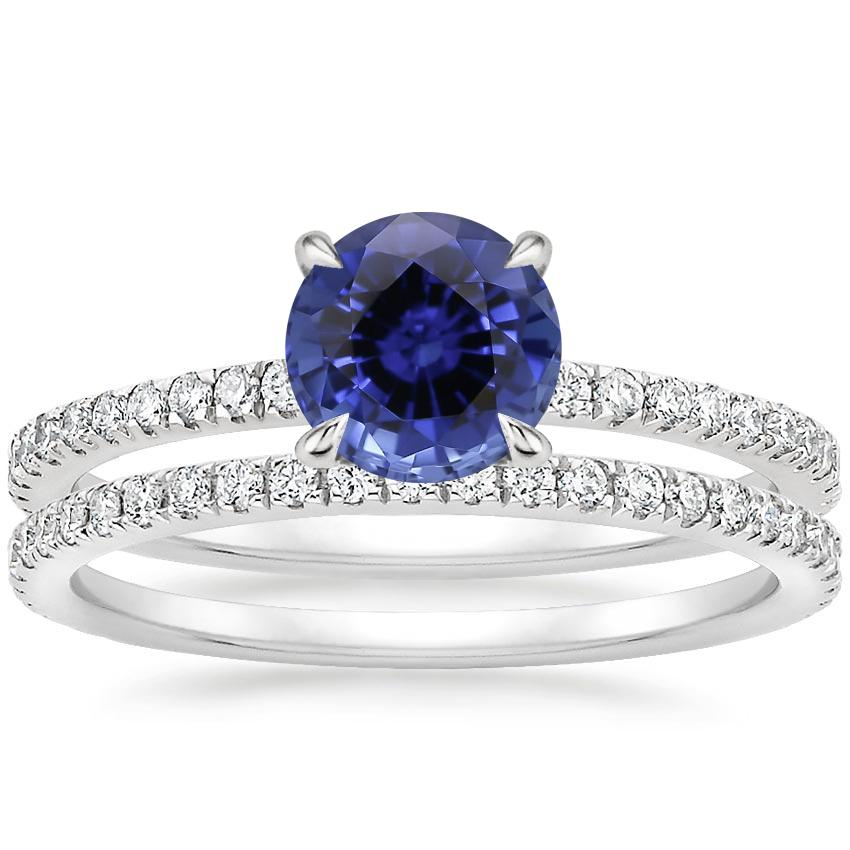 18KW Sapphire Viviana Diamond Bridal Set (1/2 ct. tw.), top view