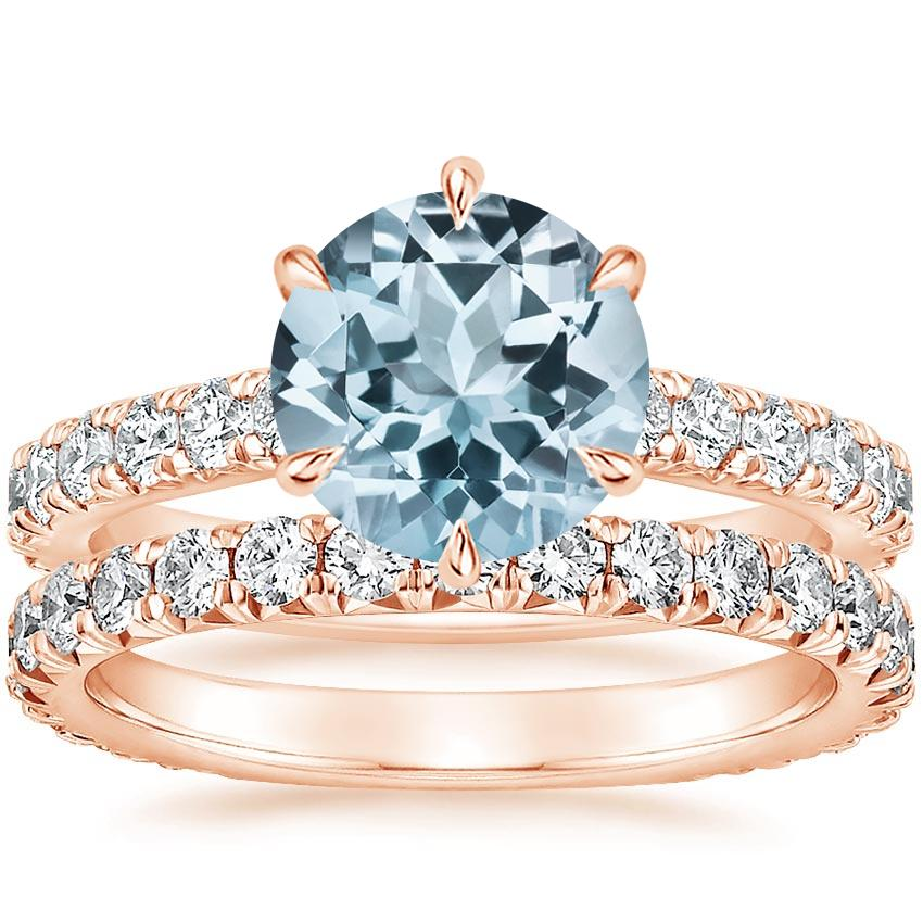 14KR Aquamarine Luxe Sienna Diamond Bridal Set, top view