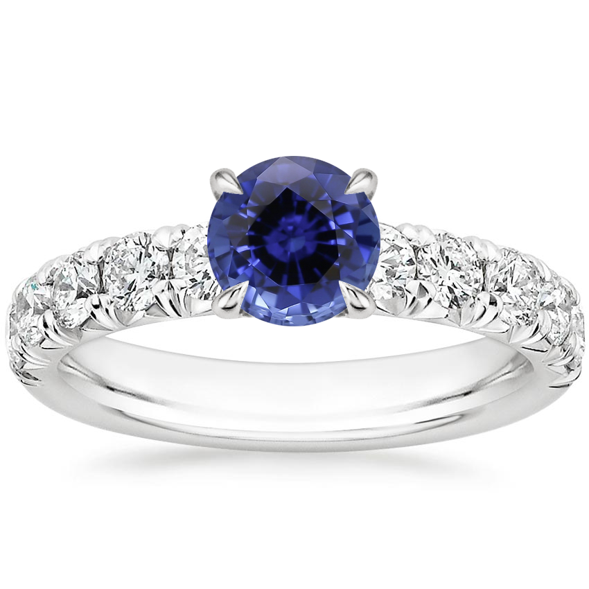 Sapphire Ellora Diamond Ring in 18K White Gold