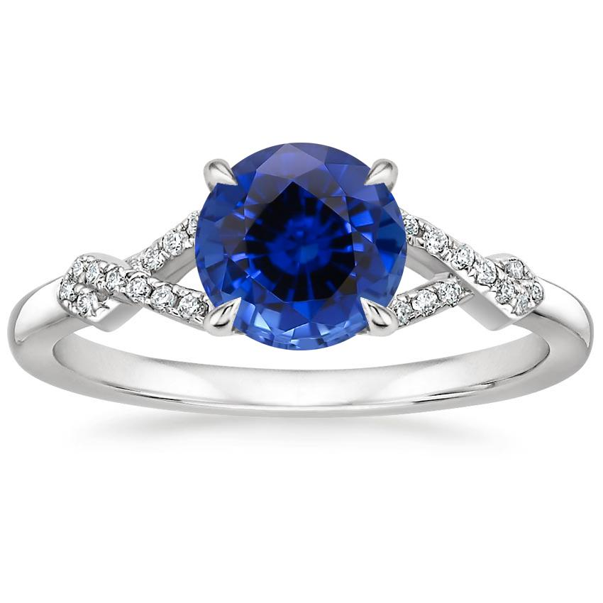 Sapphire Vera Diamond Ring in 18K White Gold