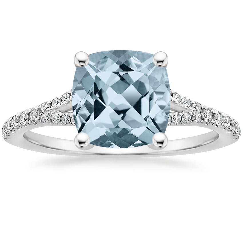 Aquamarine Flair Diamond Ring in 18K White Gold
