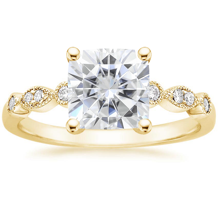 Yellow Gold Moissanite Tiara Diamond Ring (1/10 ct. tw.)