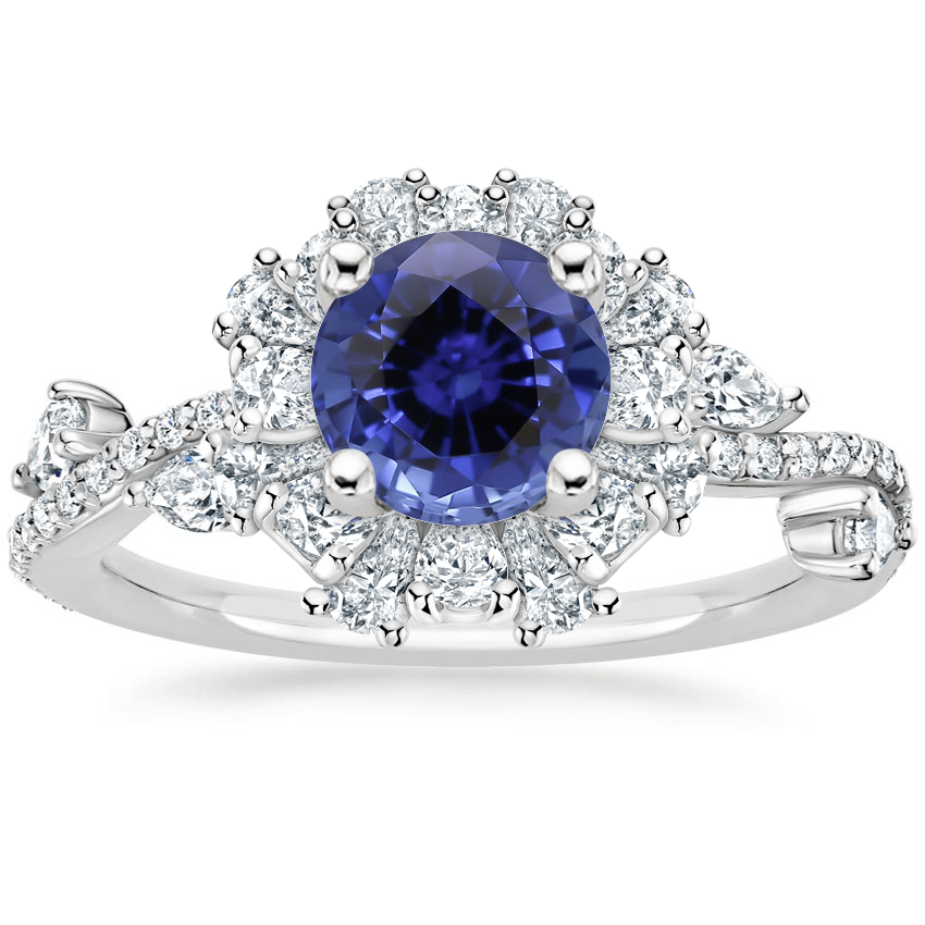 Sapphire Blooming Rose Diamond Ring (1 ct. tw.) in 18K White Gold