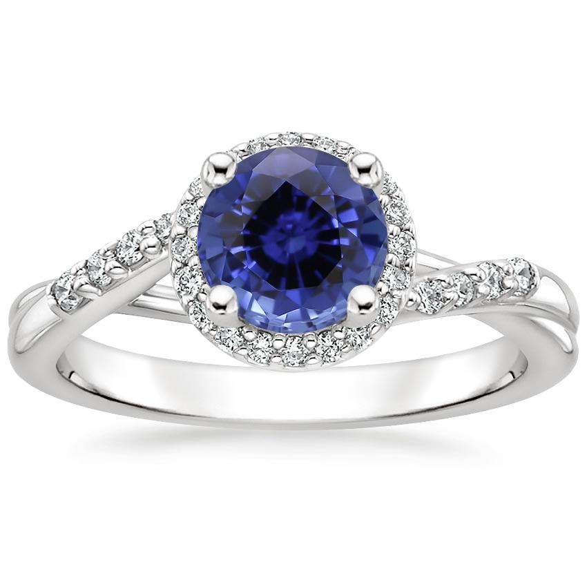 Sapphire Chamise Halo Diamond Ring (1/5 ct. tw.) in 18K White Gold