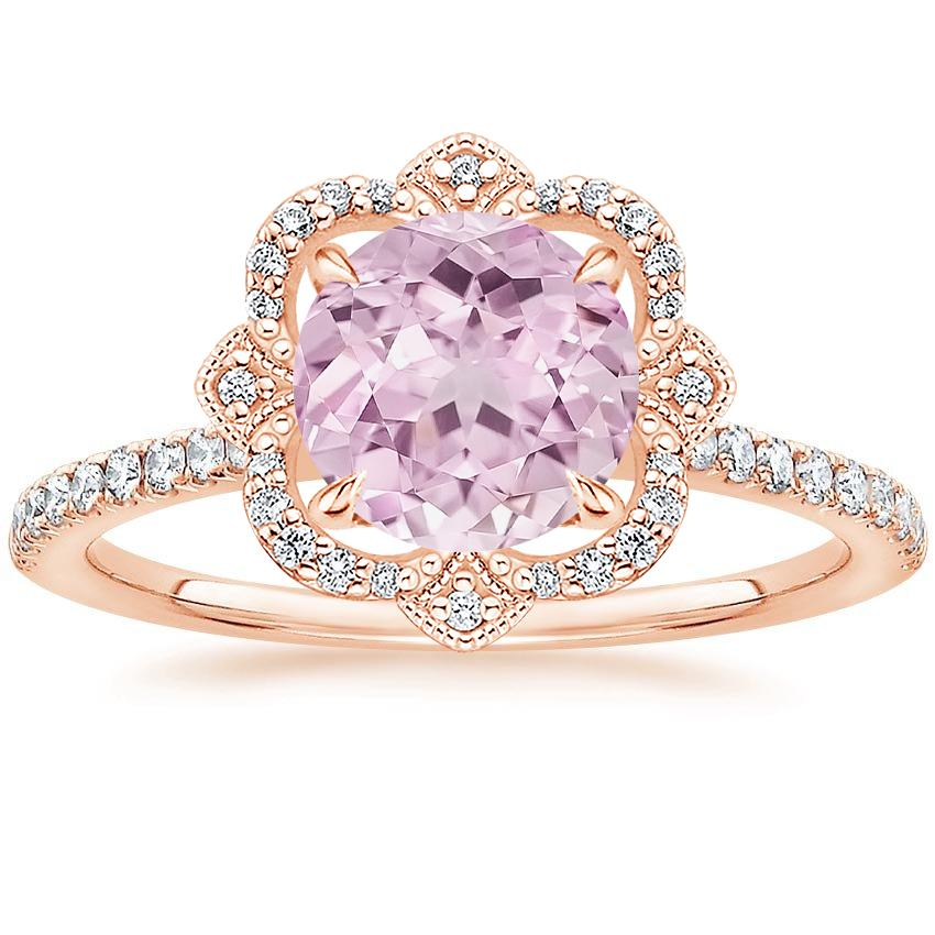 Round Crown Halo Engagement Ring
