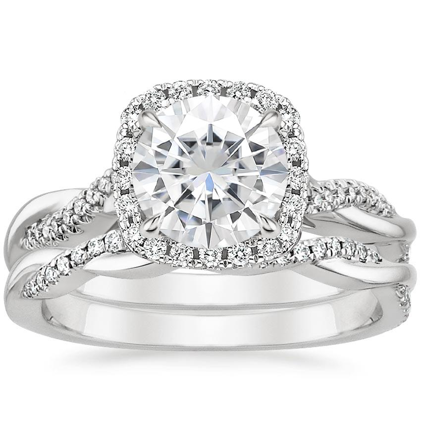 18KW Moissanite Petite Twisted Vine Halo Diamond Bridal Set (1/3 ct. tw.), top view