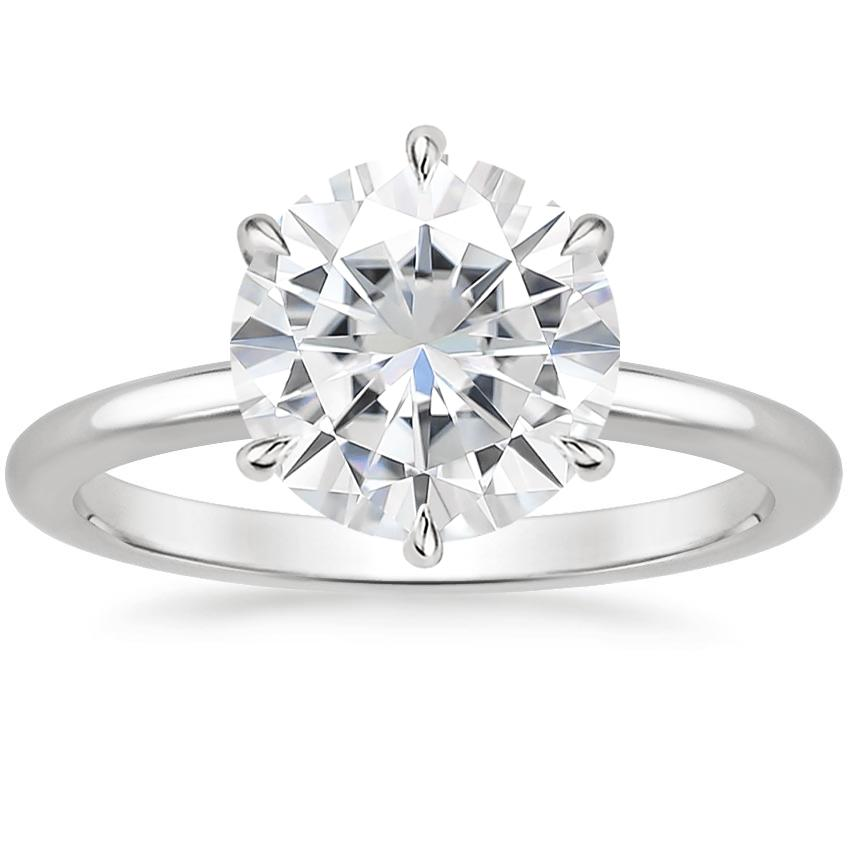 Moissanite Esme Ring in 18K White Gold