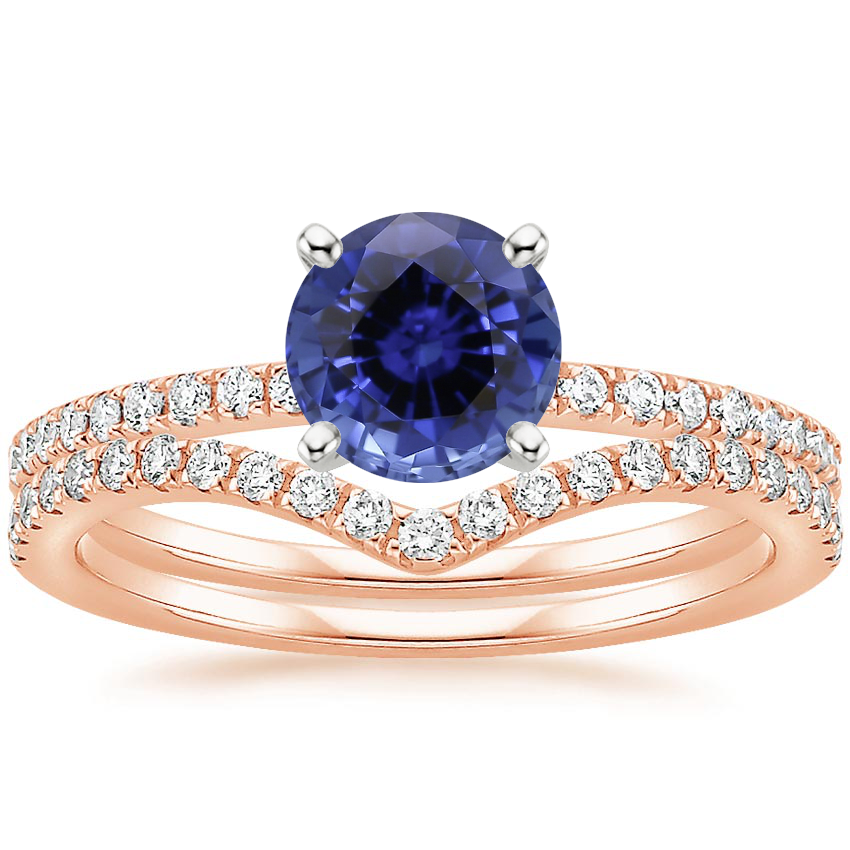 14KR Sapphire Ballad Diamond Ring (1/8 ct. tw.) with Flair Diamond Ring (1/6 ct. tw.), top view