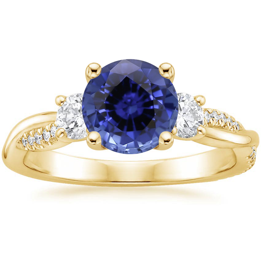 Yellow Gold Sapphire Three Stone Petite Twisted Vine Diamond Ring (2/5 ct. tw.)
