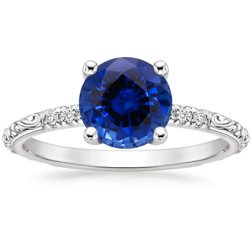 Sapphire Adeline Diamond Ring in 18K White Gold