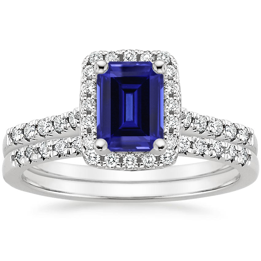 18KW Sapphire Odessa Diamond Ring (1/5 ct. tw.) with Sonora Diamond Ring (1/8 ct. tw.), top view