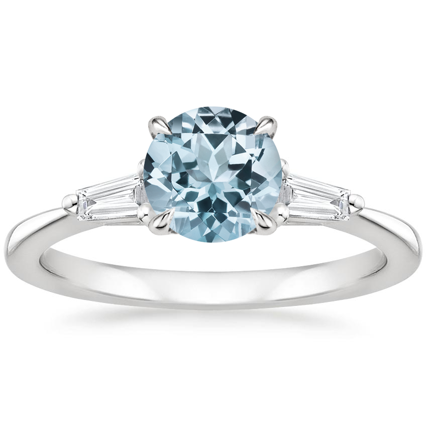 Aquamarine Quinn Diamond Ring in Platinum