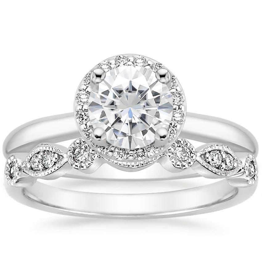 PT Moissanite Halo Diamond Ring (1/6 ct. tw.) with Tiara Diamond Ring (1/10 ct. tw.), top view