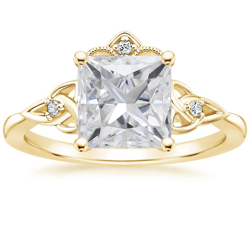Yellow Gold Moissanite Celtic Crown Diamond Ring