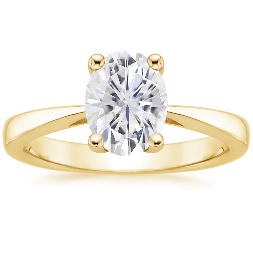 Yellow Gold Moissanite Petite Tapered Trellis Ring
