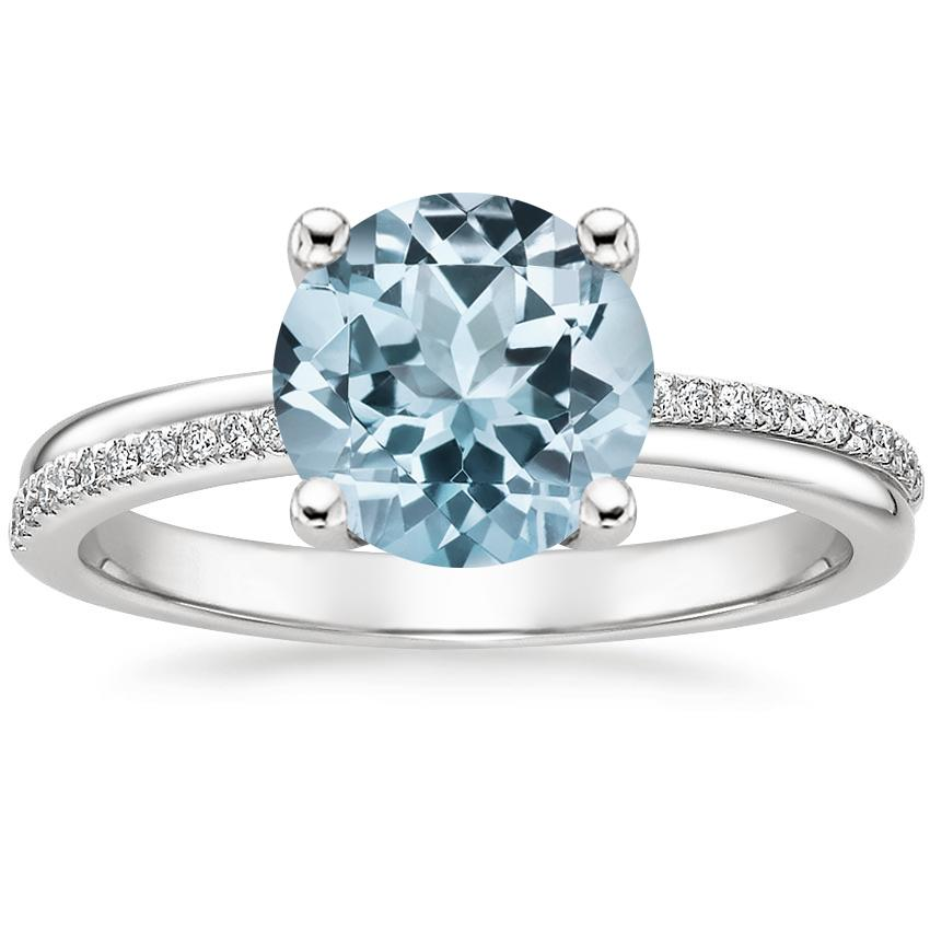 Aquamarine Symphony Diamond Ring in 18K White Gold