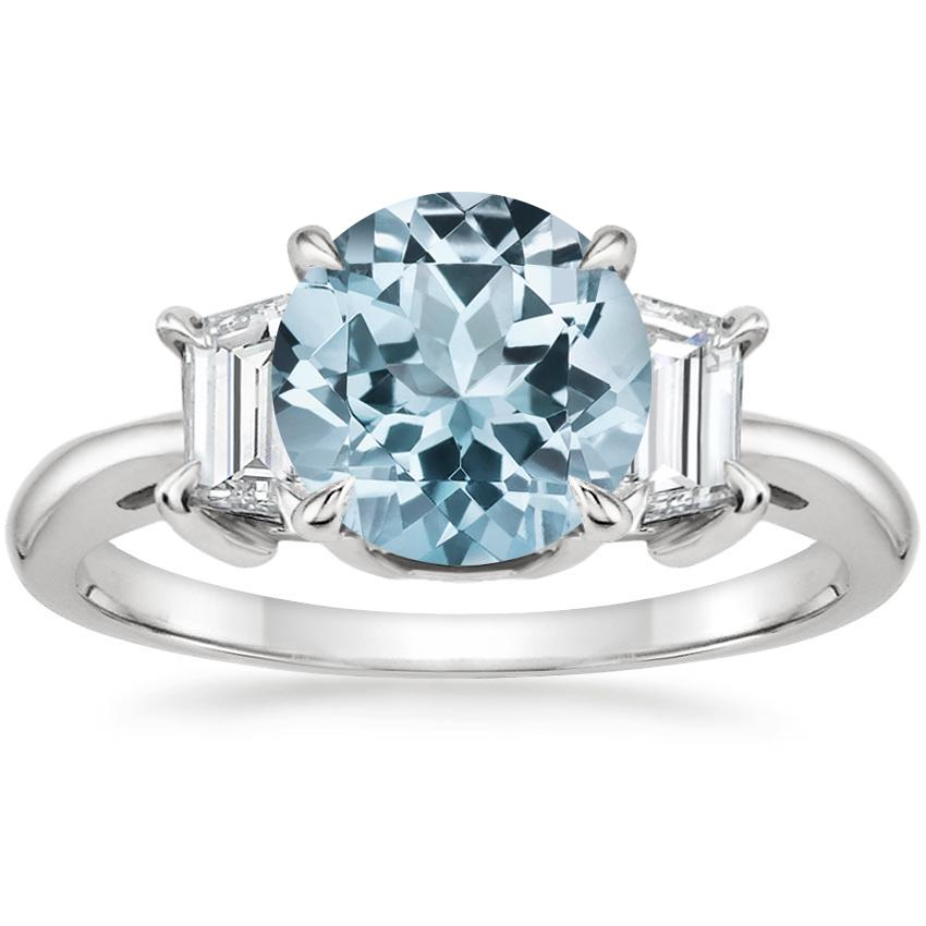 Aquamarine Embrace Diamond Ring in 18K White Gold