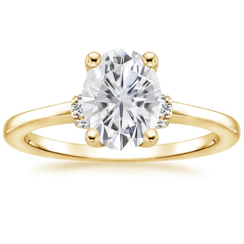 Yellow Gold Moissanite Leighton Diamond Ring