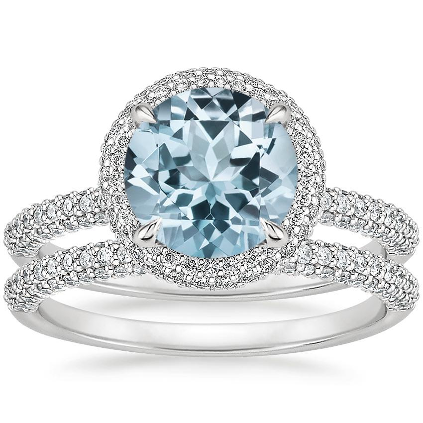 18KW Aquamarine Valencia Halo Diamond Bridal Set, top view
