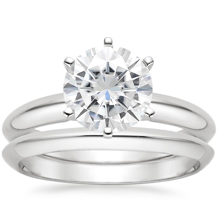 PT Moissanite Six-Prong Classic Bridal Set, top view