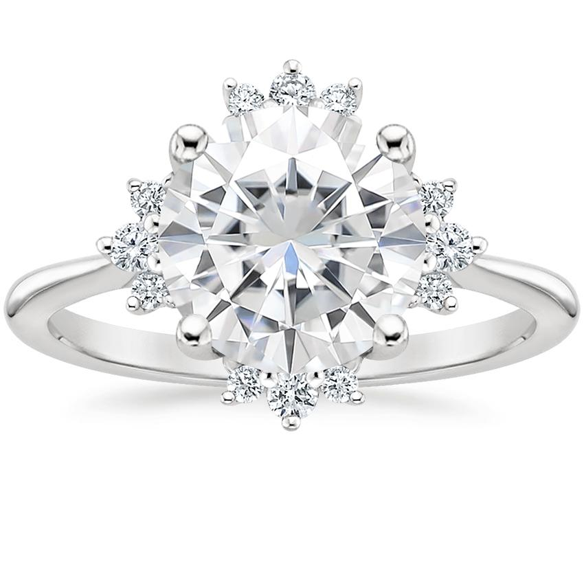 Moissanite Sol Diamond Ring in 18K White Gold