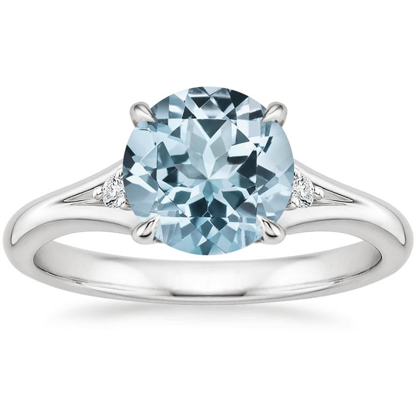 Aquamarine Lena Diamond Ring in 18K White Gold