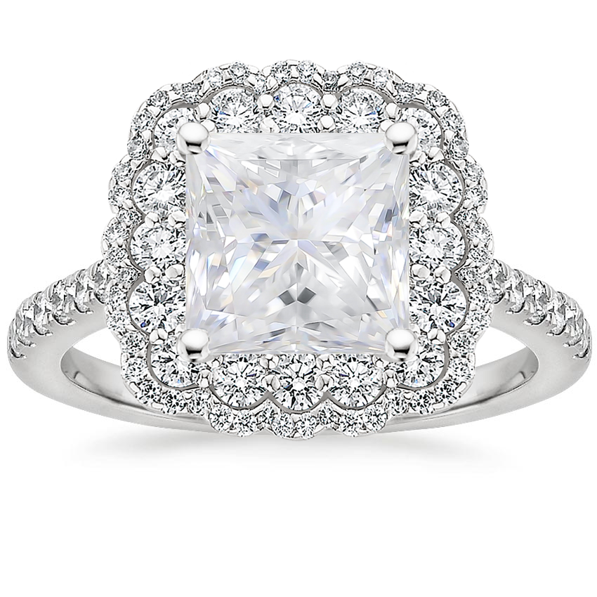 Moissanite Rosa Diamond Ring in Platinum